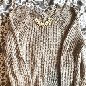 Aerie Lace-Up Tunic Oversized Sweater